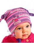 Шапочка детская с завязками фиолет.