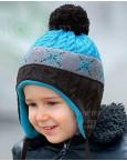 Шапочка с завязками серо-голубая